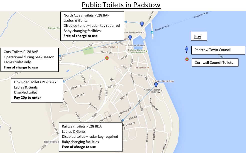 Updated Map of toilets in Padstow