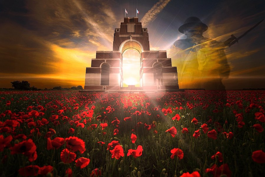 Solider, cenotaph & poppies