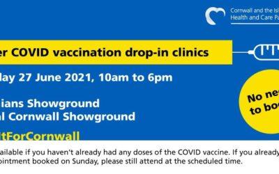 Pfizer COVID Vaccination drop-in Clinics 27 June